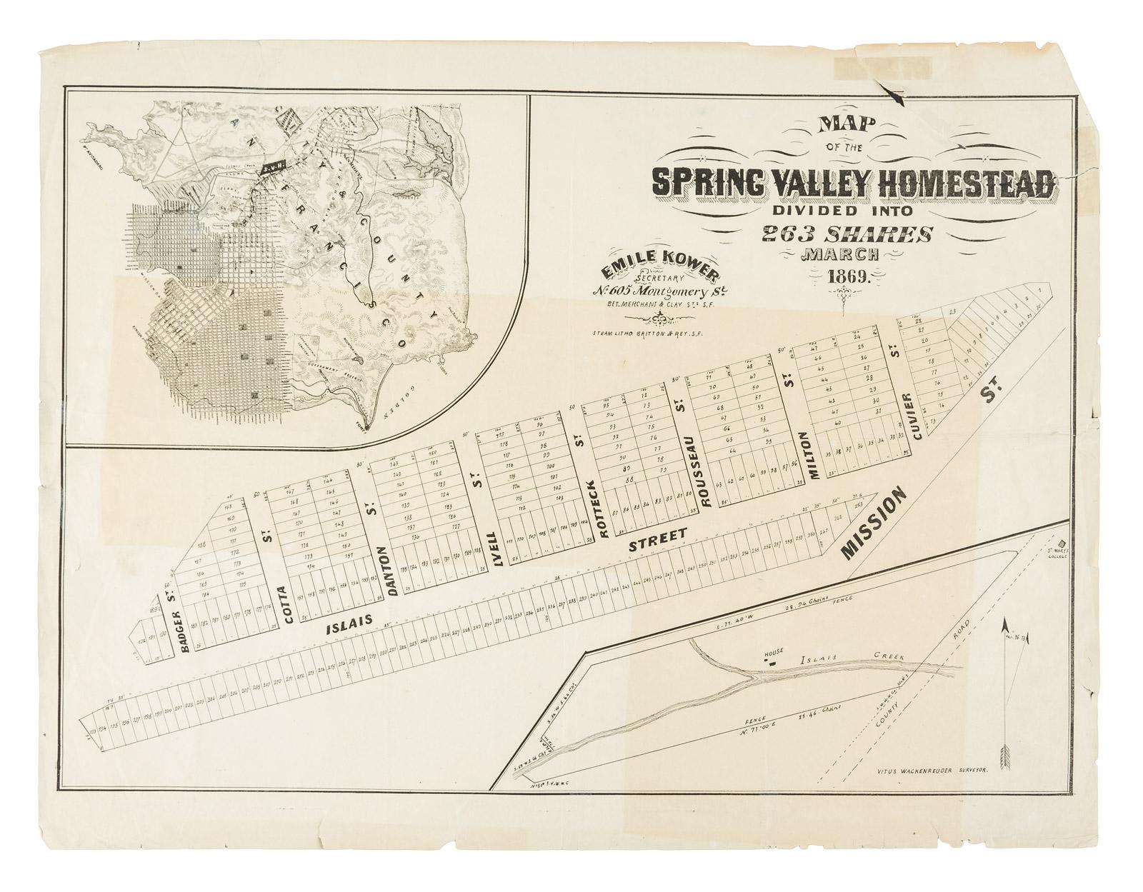 Map of the Spring Valley Homestead divided into 263 shares Emile