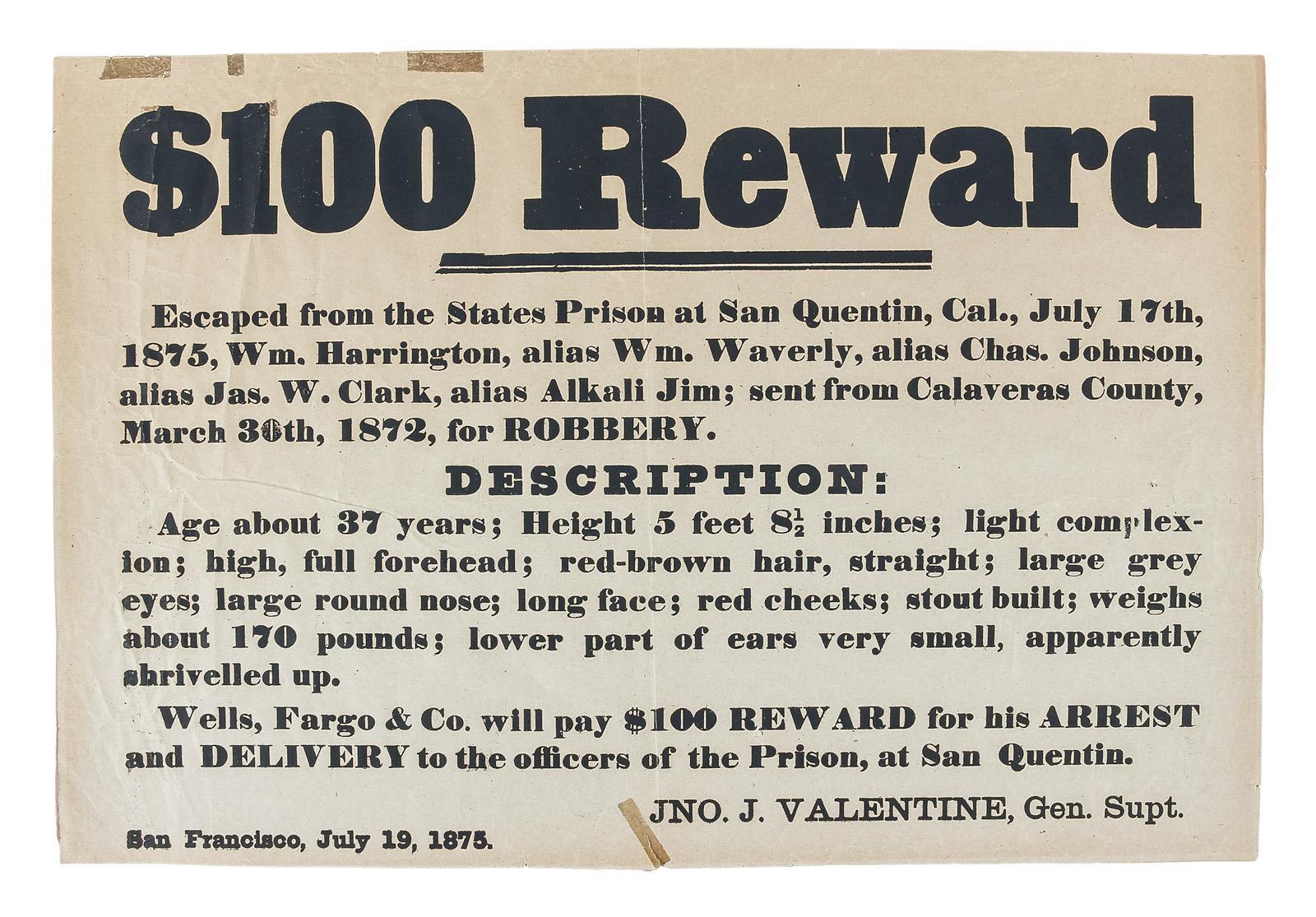 Wells, Fargo & Co. Reward Poster for \