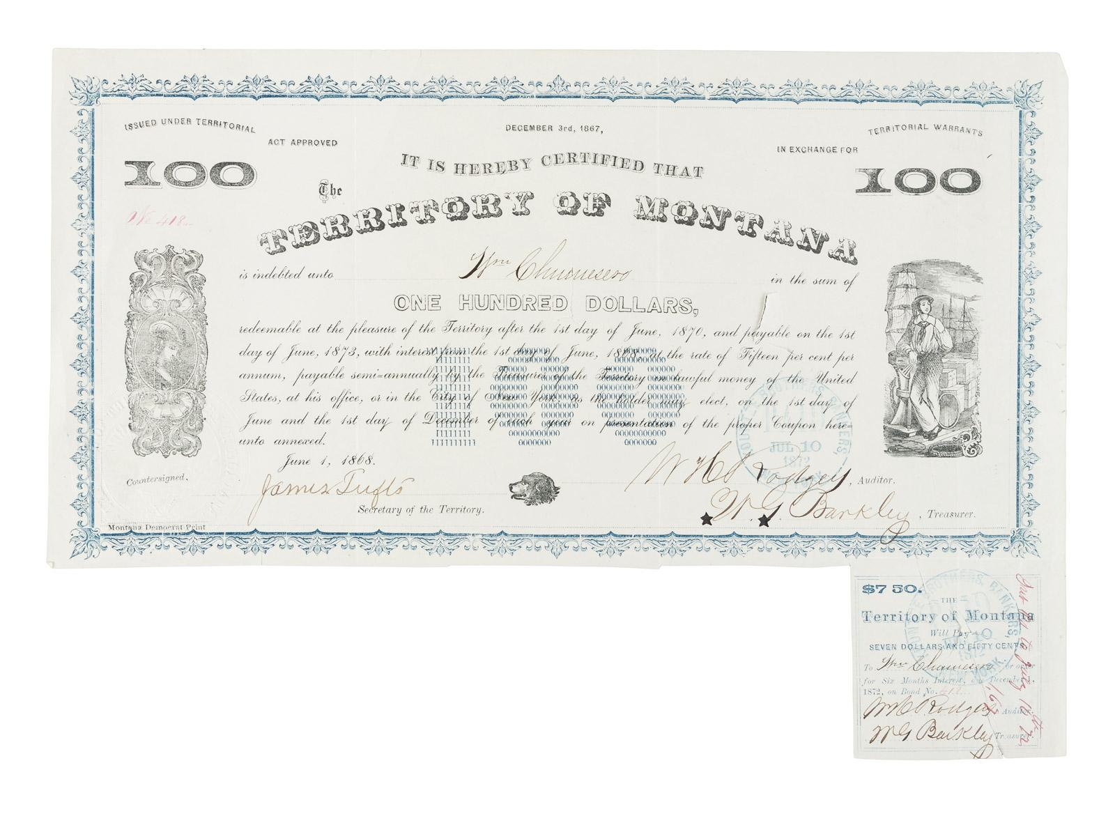 Montana Territorial Warrant for One Hundred Dollars - Price Estimate