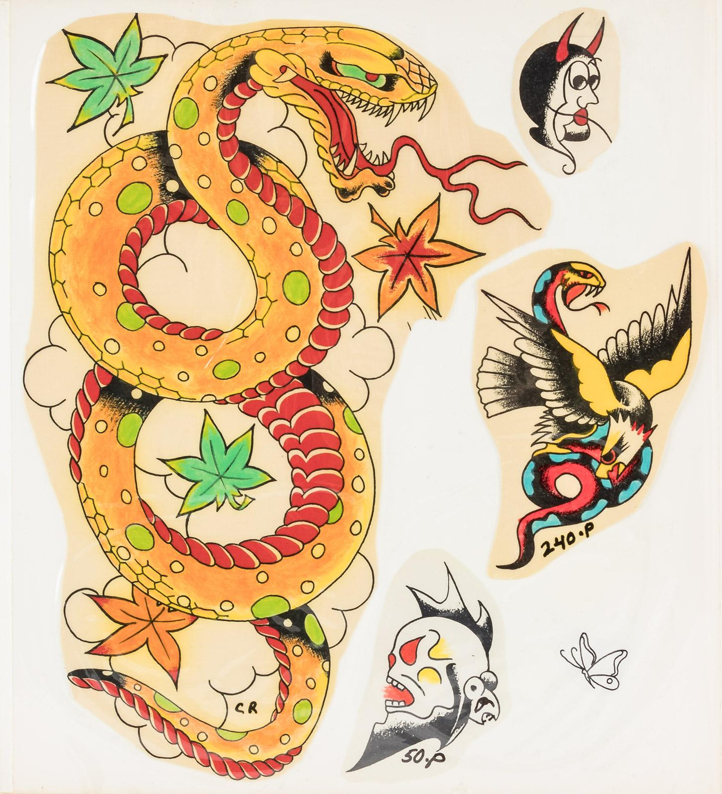 Sample book with approximately 208 designs for tattoos, both color ...