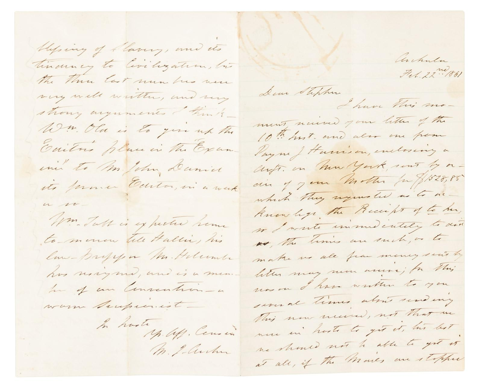 Letter Written By A Well Connected Virginian On The Eve Of Secession
