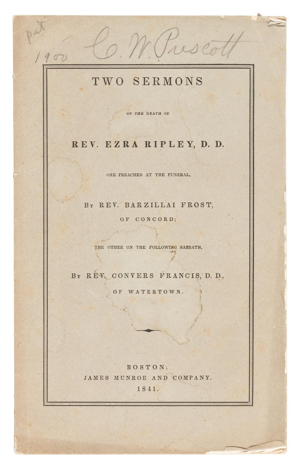 Obituary of Ezra Ripley [in] Two Sermons on the Death of Rev  Ezra