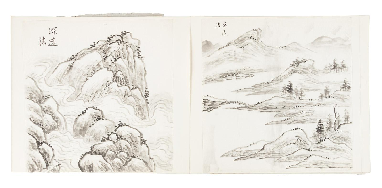 Sketchbook with approx  90 tipped-in tissue leaves with original ink