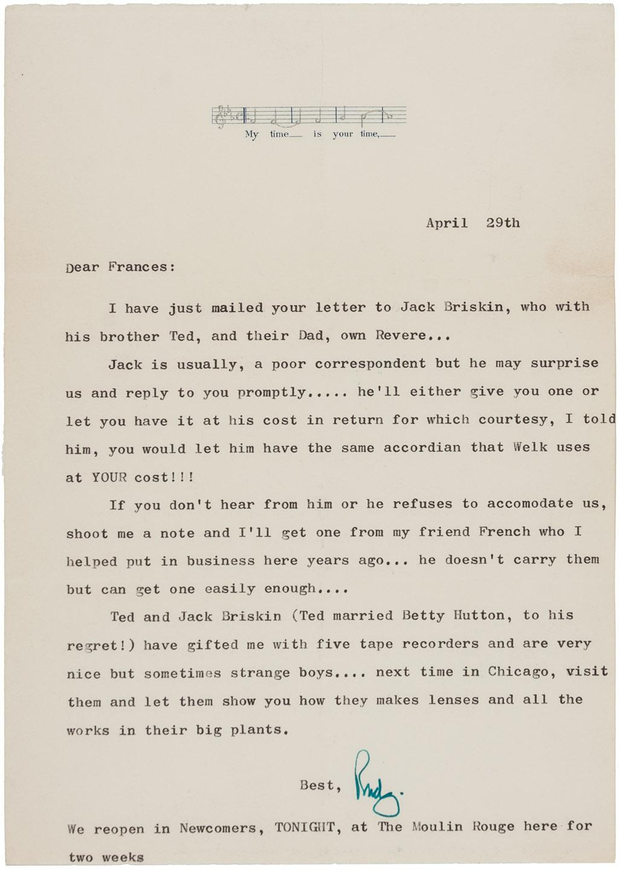Rudy Vallee, First Jazz Age Pop Star, 1958 letter - Price