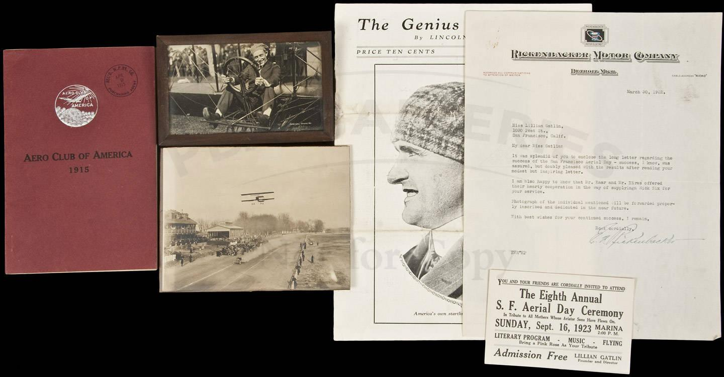 Aviation archive of Lillian Gatlin - first woman to travel