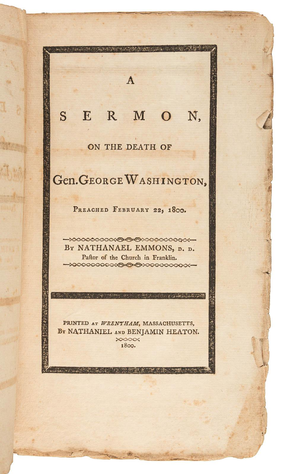 A Sermon on the Death of Gen  George Washington, Preached