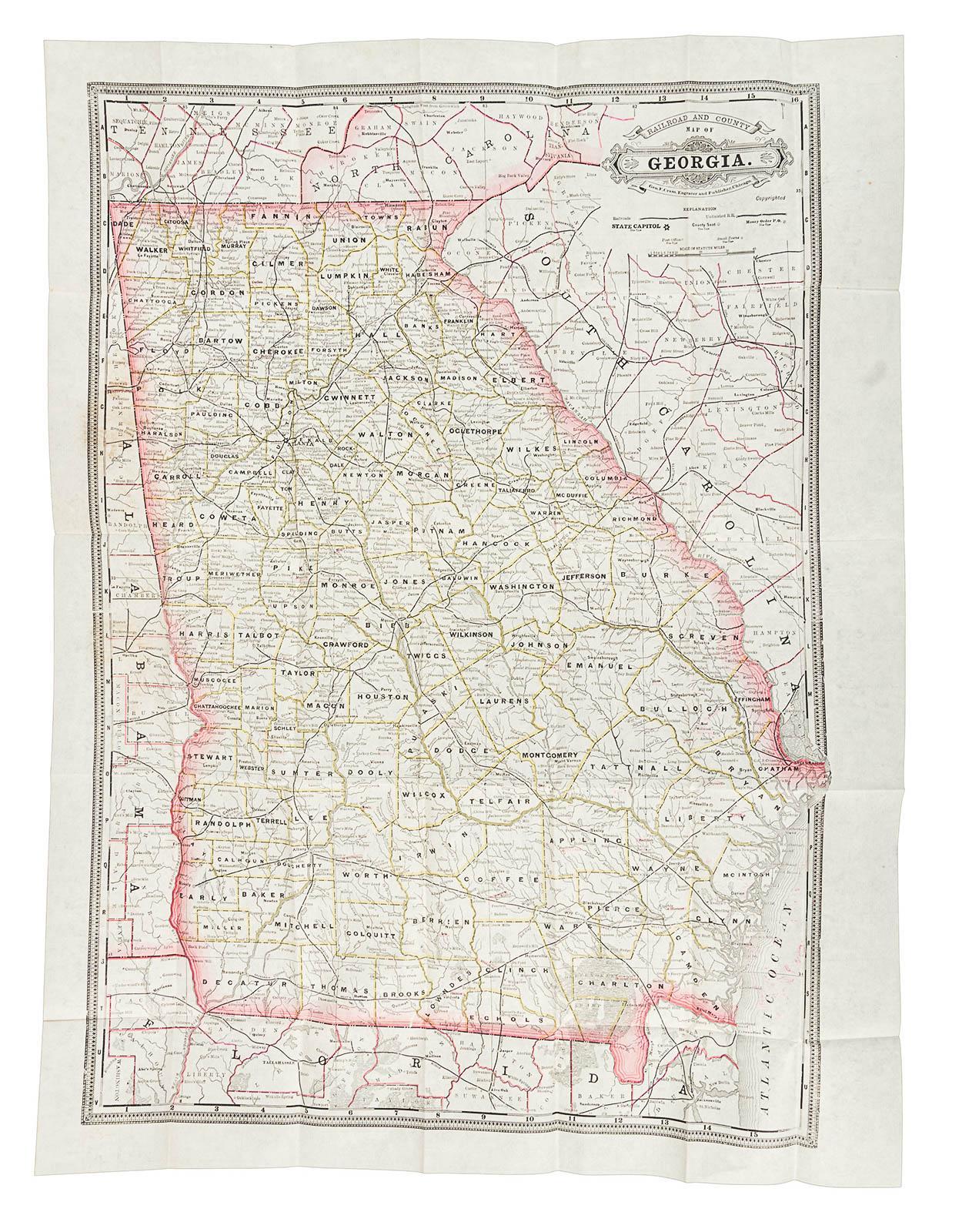 Railroad Map Of Georgia.Railroad And County Map Of Georgia Price Estimate 200 300