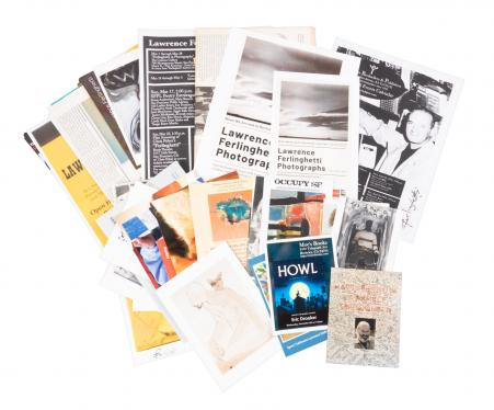 Fifty-two pieces of Lawrence Ferlinghetti ephemera