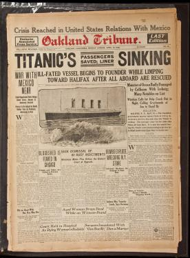 Oakland Tribune - the Monday evening edition of the April 15, 1912...