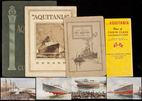 Large group of items relating to the R.M.S. Aquitania