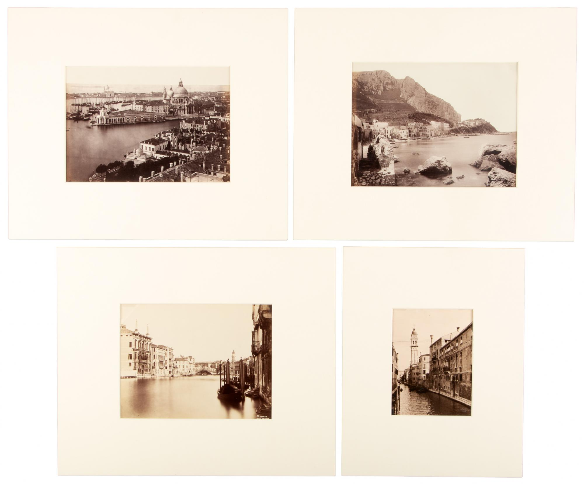 Four views of turn of the century Venice and Naples