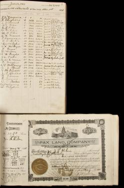 Pax Land Company ledger book and book of stock certificates