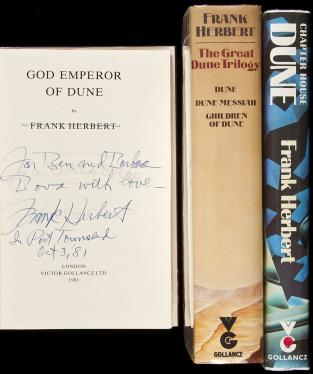 Three British editions of Dune books, each signed and/or inscribed by Frank...
