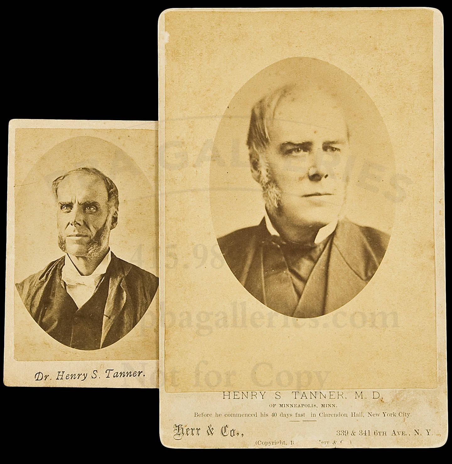 A Cabinet Card And Carte De Visite Of Famed Faster Dr Henry S