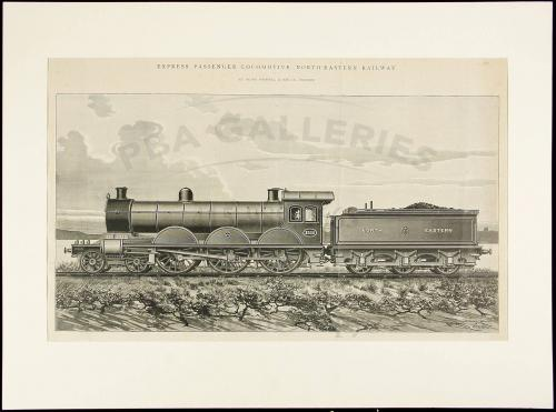 Collection of prints from encyclopedic text, plus two locomotive woodcuts