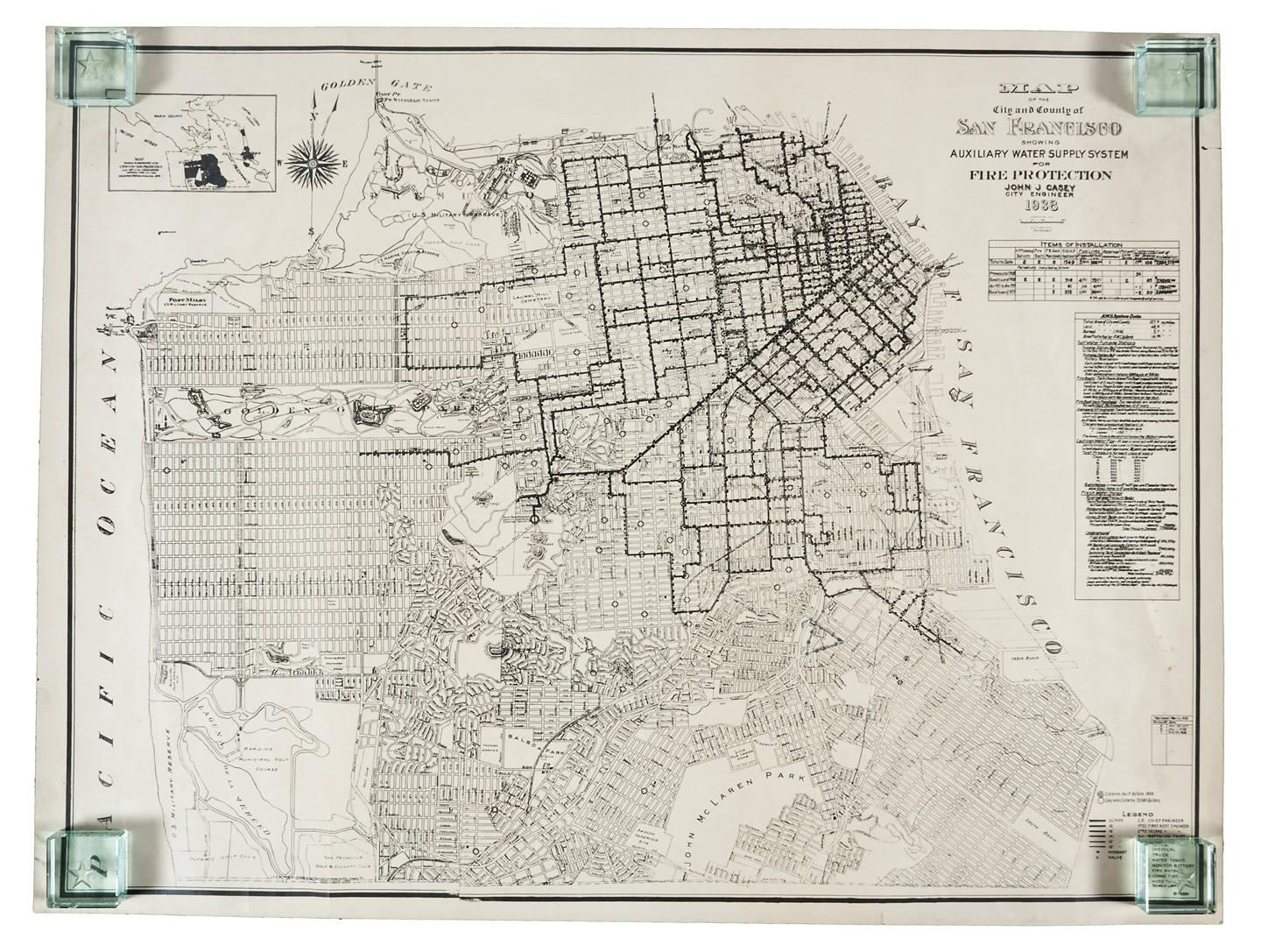 Map of the City and County of San Francisco Showing Auxiliary Water