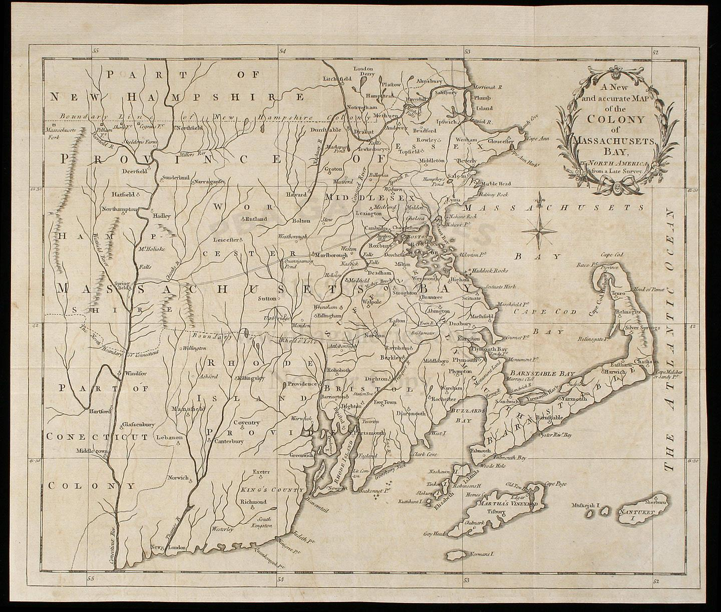 A New and Accurate Map of the Colony of Massachusetts Bay in North