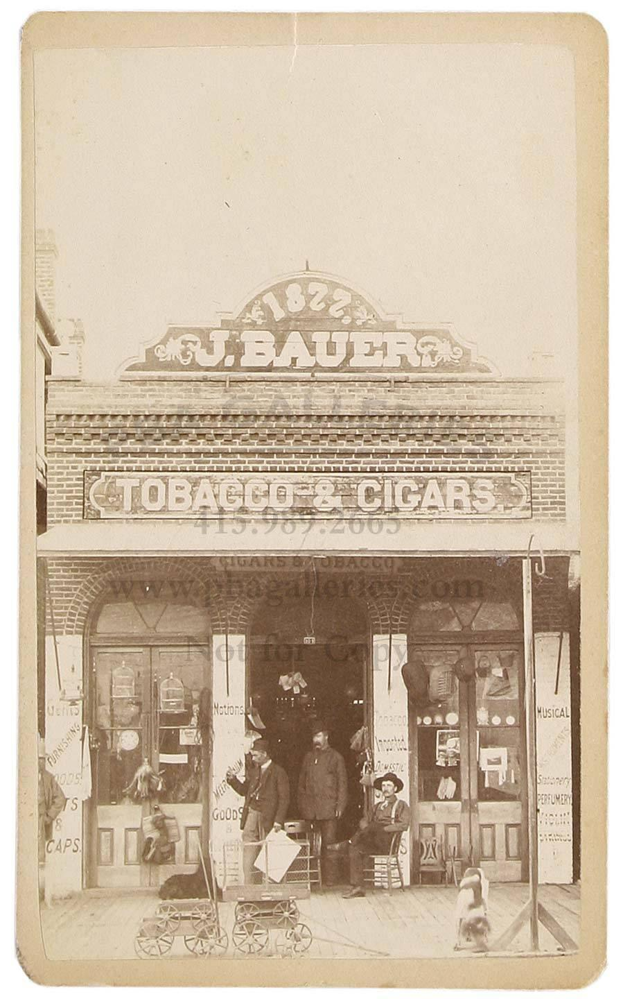CDV of J  Bauer Tobacco & Cigars, Sacramento, CA - Price