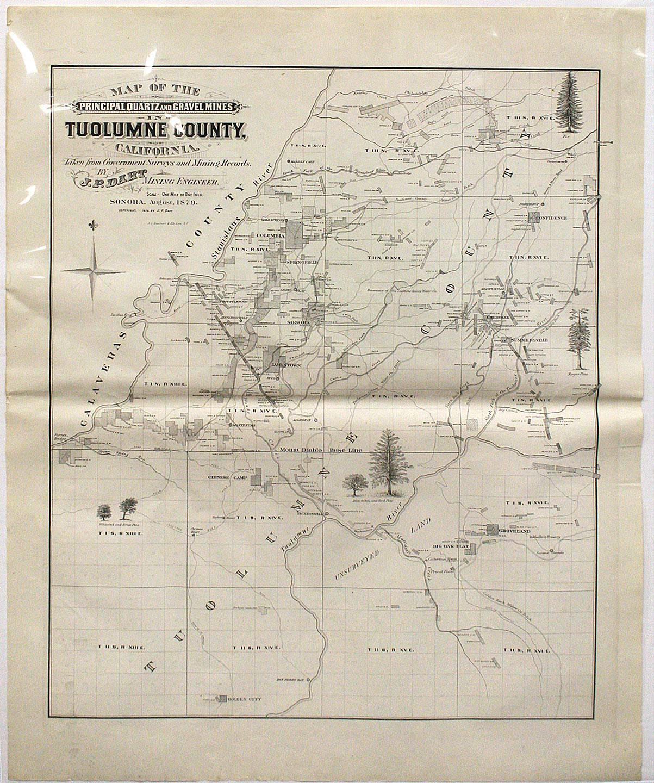 Map of the Principal Quartz and Gravel Mines in Tuolumne