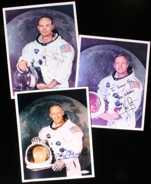 Photographs of Apollo XI Astronauts Neil Armstrong, Buzz Aldrin and Michael...