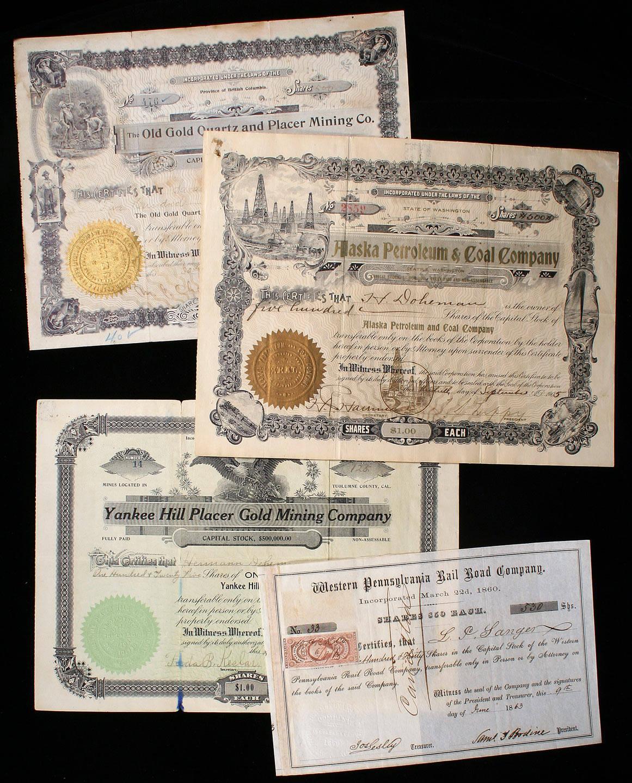 Lot of 4 Mining, Oil & Railroad Stock Certificates - Price