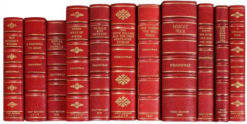 Lot of 11 first editions in full leather