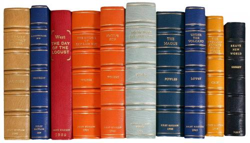 Lot of 18 first editions by various authors bound in leather