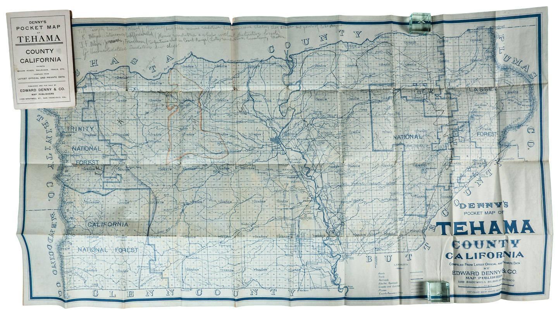 Denny S Pocket Map Of Tehama County California Price Estimate